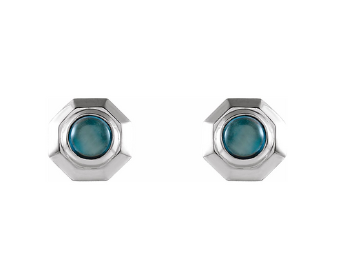 14k Cabochon Topaz Stud Earrings