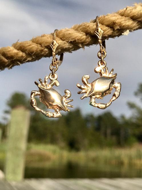 14k Backfin Crab Leverback Earrings