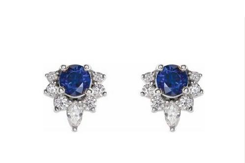 14k Diamond Sapphire Stud Earrings