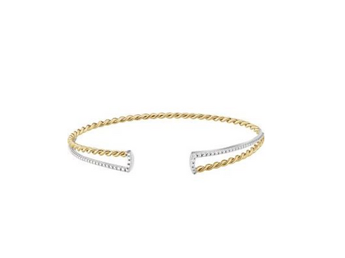 14k Two-tone Twisted Rope Cuff