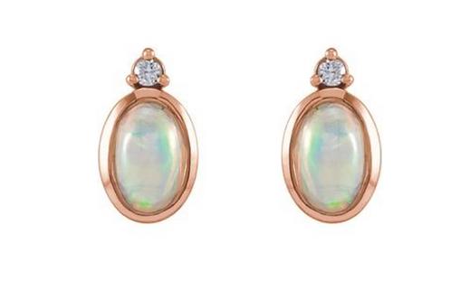 14k Opal & Diamond Stud Earrings