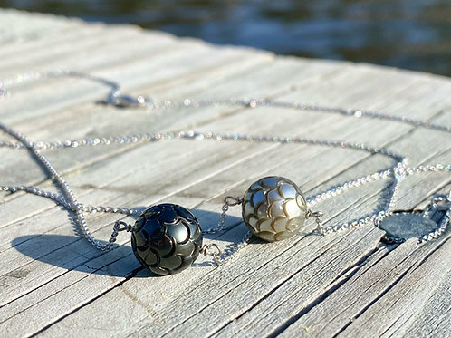 14k Carved  Tahitian Pearl Necklace