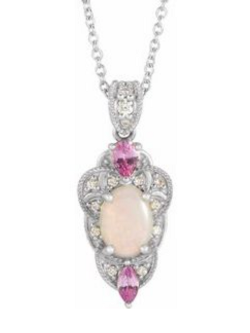 14k Opal, Pink Sapphire, and Diamond Necklace