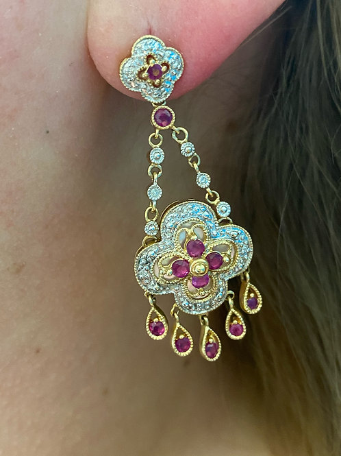 Estate 14k Ruby, Diamond, and MOP Chandelier Earrings