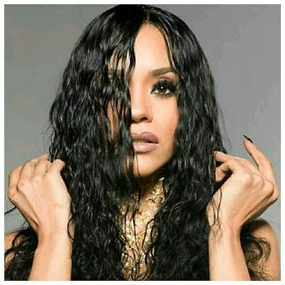 Model wearing curly  black long wig