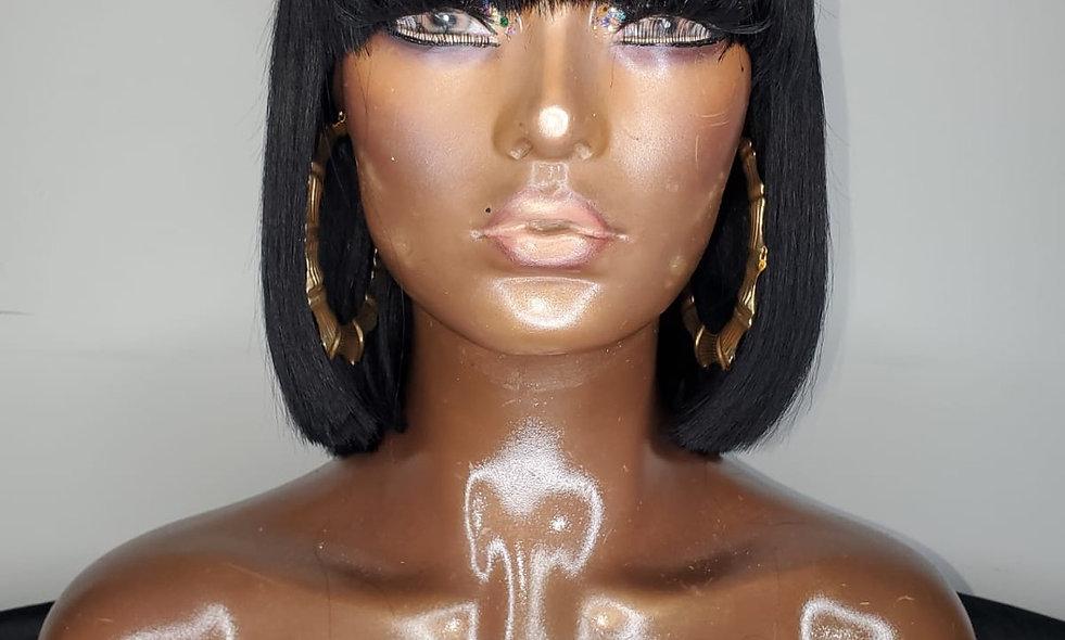 """BOBBIE BLACK"" Stocking Cap Wig with Human Hair"