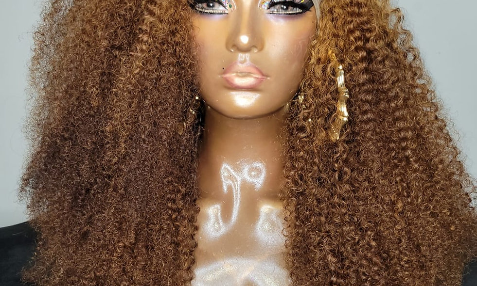 24 Inch Full Lace Kinky Curl Wig (Custom Color)
