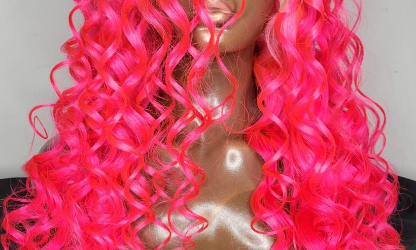 """PINKY "" 30 Inch  Bodywave Frontal Lace Wig (Custom Colored w/Wand Curls)"