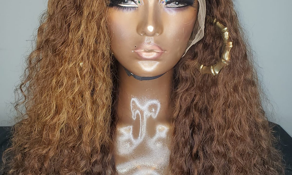 """GIGI CINNAMON"" Brown Custom Color Natural 20 Inch Curly Frontal Swiss Lace Wig"