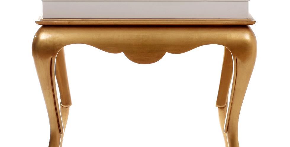 Altın Varak Üzeri Beyaz Parlak Lake Sehpa
