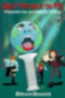 Screaming globe falling off a pillar, three men rush to help