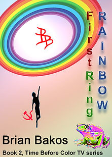 Figure grasping a communist hammer & sickle leaps up to a rainbow.