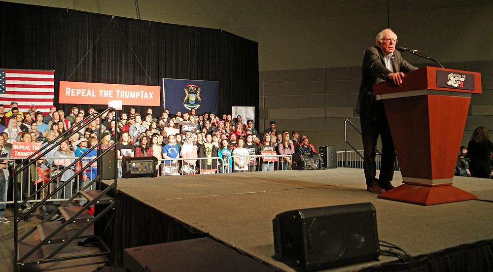 Bernie at the podium, East Lansing, MI 2/25/18
