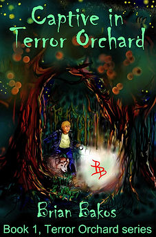 Frightened boy enters the haunted orchard with his dog.