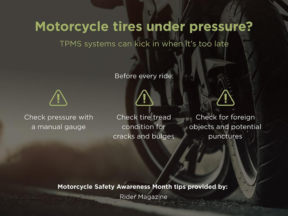 Motorcycle tires under pressure