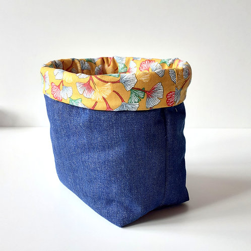 Panière de rangement en toile de jean et coton imprimé gingko jaune