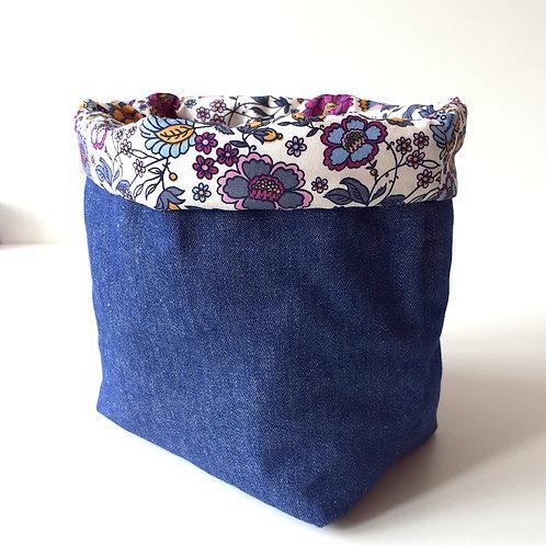 Panière de rangement en toile de jean et coton imprimé champêtre1
