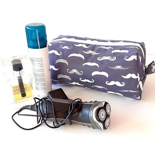 Trousse de toilette hommes-moustache bleu marine&blanc