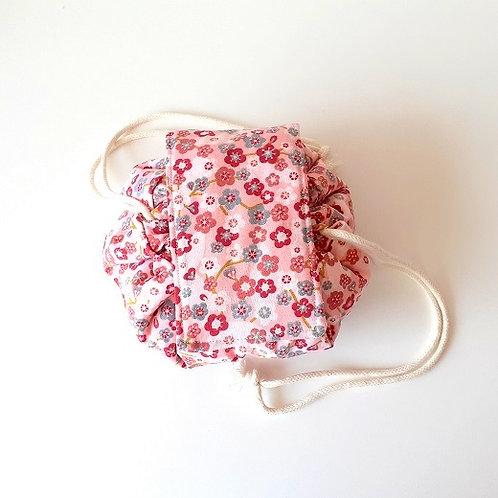 Trousse bourse maquillage petites fleurs rose