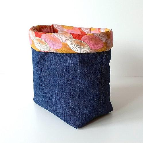 Panière de rangement en toile de jean et coton imprimé ombrelles roses