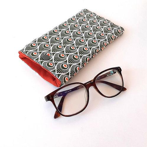 Etui à lunettes plumes de paon vert
