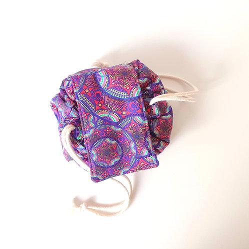 Trousse bourse maquillage mandala violet