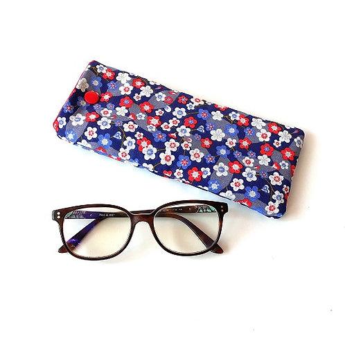 Etui à lunettes fleurs fond violet