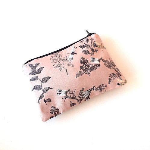 Pochette petit format-libellule rose et noir