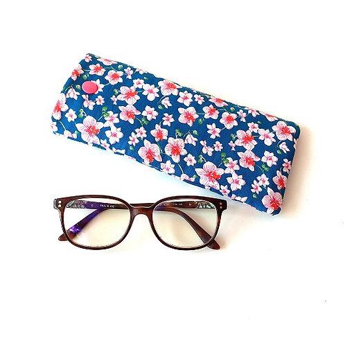 Etui à lunettes fleuri rose&bleu