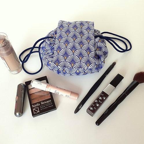 Trousse bourse maquillage éventail violet