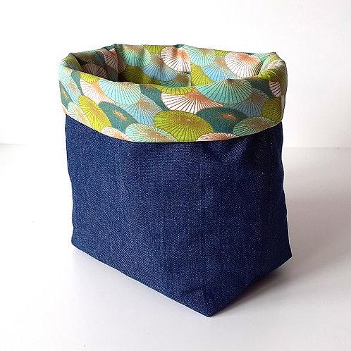 Panière de rangement en toile de jean et coton imprimé ombrelles vertes
