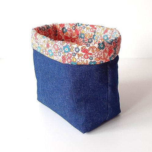 Panière de rangement en toile de jean et coton imprimé fleurs et cerises