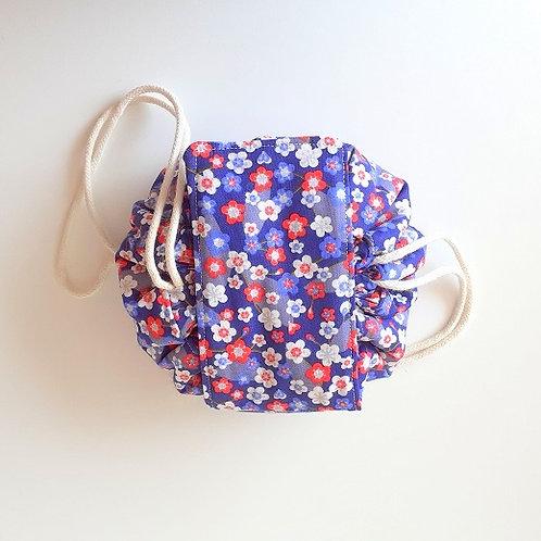 Trousse bourse maquillage petites fleurs rouge-violet