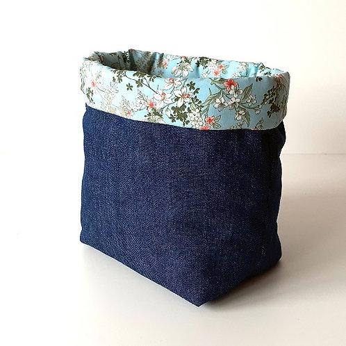 Panière de rangement en toile de jean et coton imprimé jardin bleu