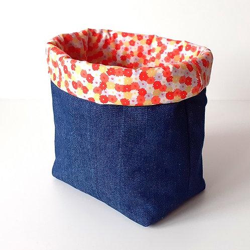 Panière de rangement en toile de jean et coton imprimé parterre fleurs