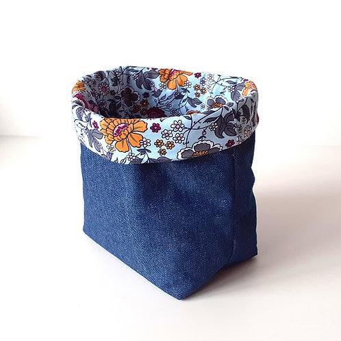 Panière de rangement en toile de jean et coton imprimé champêtre