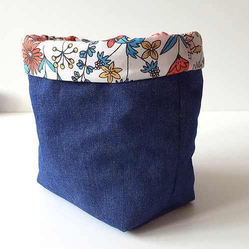 Panière de rangement en toile de jean et coton imprimé fleurs des champs