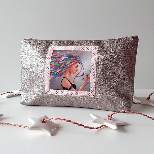 Pochette Illustration Plume métallisé rose
