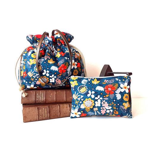 Combiné sac à main Luna fleurs des champs et pochette