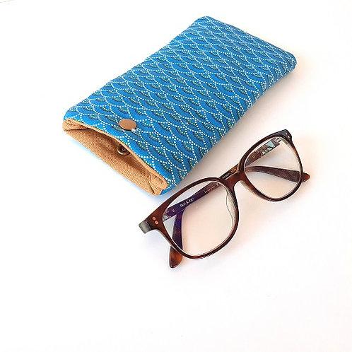 Etui à lunettes éventails bleus