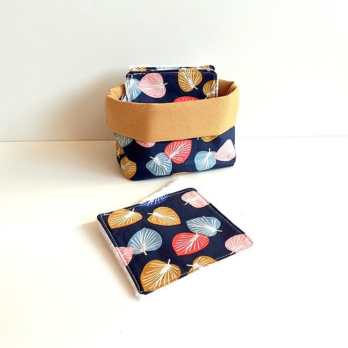 Panière de rangement pour carrés démaquillants-feuilles multicolores
