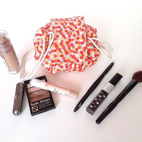 Trousse bourse maquillage fleurs grise et orange