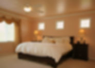 Soothing color palatte, Aire look, spacious Master Bedroom, Silk drapes, lots of daylight