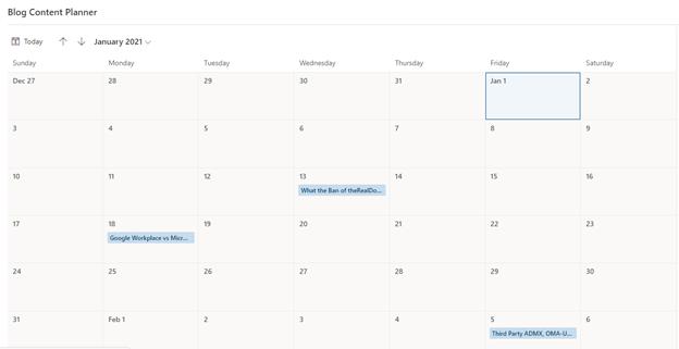 Calendar view of list