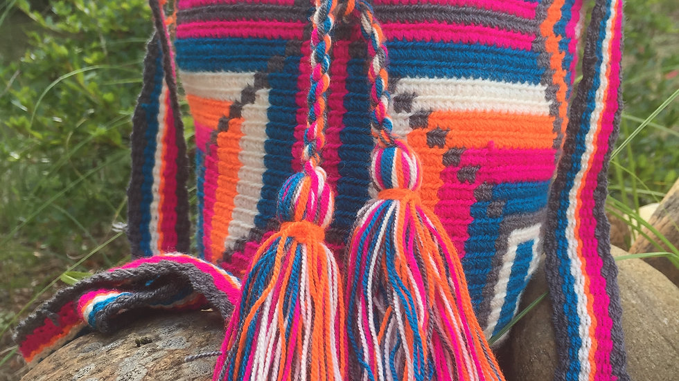 Mochila Wayuu small Pink Geometry