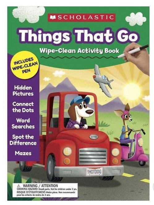 Things That Go Wipe Activity Book