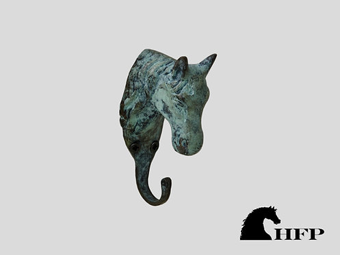 Green Patina Horsehead Hook