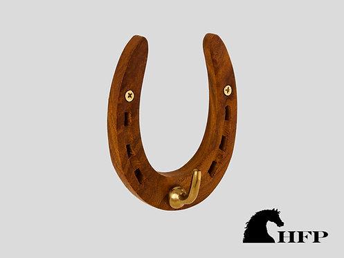 Brass Horseshoe Hook- Wood and Brass