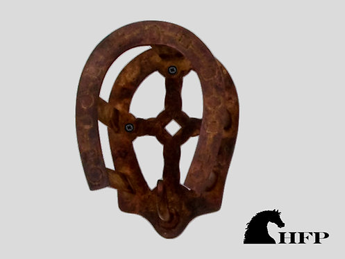Brass Horseshoe Bridle Bracket- Brown Patina