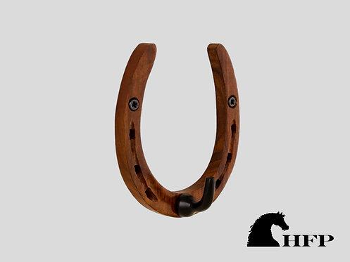 Brass Horseshoe Hook-Wood & Black